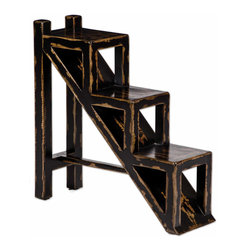 Uttermost - Asher Black Mango Wood Multi-Tiered Accent Table - Here,  rustic  meets  contemporary.  A  unique  tiered  rustic  accent  table  features  solid  mango  wood  painted  black,  then  edge-sanded  to  reveal  the  natural  wood  underneath.  This  heavy  distressing  brings  out  the  warm,  cinnamon  tones  of  the  natural  wood  and  contrasts  them  with  the  black  geometric  squares  and  triangles  that  are  the  basis  of  this  very  unique  table  design.