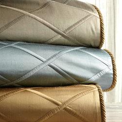 "Dian Austin Couture Home - Dian Austin Couture Home King Diamond-Trellis Duvet Cover, 108"" x 95"" - Gold diamond-trellis duvet cover is made in the USA of imported silk. Dry clean."