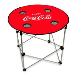 Bam Brokerage Inc/on The Edge Mrktg - Coca-Cola Folding Table - Outdoor gatherings are a whole lot more convenient when you add this fold and go table. The table top features the familiar Coca-Cola logo and their trademark red and white color scheme.