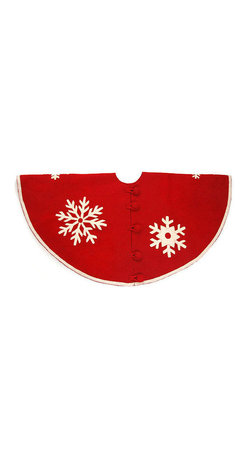 """Arcadia Home - Snowflakes Red Felt Tree Skirt - A smattering of snowflakes makes this hand felted and hand appliqued snowflake tree skirt special in red with cream snowflakes. Approximately 60"""" in diameter. Oversized felt button closure."""