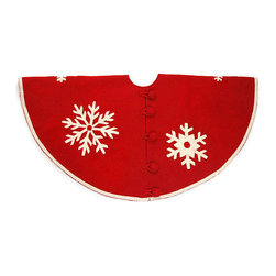 "Arcadia Home - Snowflakes Red Felt Tree Skirt - A smattering of snowflakes makes this hand felted and hand appliqued snowflake tree skirt special in red with cream snowflakes. Approximately 60"" in diameter. Oversized felt button closure."