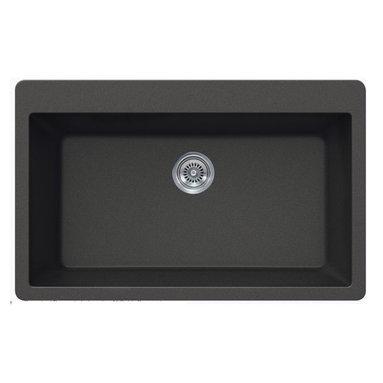 TCS Home Supplies - Black Quartz Composite Single Bowl Undermount / Drop In Kitchen Sink - Undermount / Drop In Kitchen Sink. Single Bowl. Black Quartz Composite. Deck contain four faucet drill-out Holes. Dimensions 33 x 21 x 9 Inch