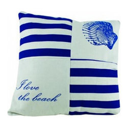 "Handcrafted Nautical Decor - Sea life Pillows 15"" - Set of 4 - This charming I Love The Beach Pillow 15"" combines the atmosphere of the sea and represents sea life with a seashell placed prominently on the top right corner of our pillow. To highlight the beach theme aesthetic of this pillow, we have included the text ""I love the beach"" to further accent this this decorative throw pillow. Place this pillow in your home to show guests your affinity for sea life and beach decor."