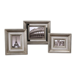 Uttermost - Uttermost 18519  Hasana Antique Silver Photo Frame Set/3 - Antiqued mirror center panels surrounded by antiqued silver frames. holds photo sizes: 4x6, 5x7, 8x10. frame sizes: sm-13x15x2, med-14x16x2, lg-17x19x2