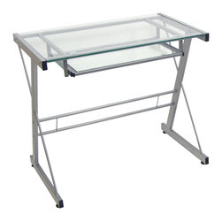 Walker Edison - Silver Computer Desk - Crafted from powder coated steel and tempered safety glass, this computer desk has a sleek, modern design. Features a spacious workspace and built-in sliding keyboard tray to make it the perfect addition to your home office or study.