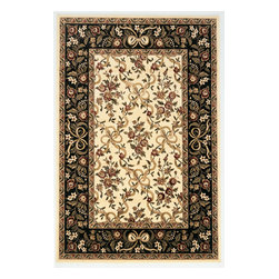 """KAS - KAS Cambridge 7310 Floral Ribbons (Ivory, Black) 5'3"""" x 7'7"""" Rug - Our Cambridge Series is machine-woven in China of heat-set polypropelene. This line features a current color palette in classic and transitional patterns providing a well-designed and durable rug at a very affordable price point. No fringe."""