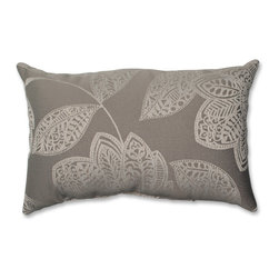 Pillow Perfect - Pillow Perfect Beatrice Jute Rectangular Throw Pillow - Add the perfect blend of style and comfort to any space in your home with this rectangular grey and off-white modern floral throw pillow from Pillow Perfect. Knife edging adds the finishing touch to this wonderful decorative pillow.