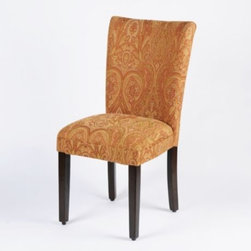 """Paisley Parsons Chair - Paisley with an attitude perfectly describes this Parsons Chair upholstered in a rich, red paisley fabric.  Parsons chairs are the """"any room, any time"""" kind of chair.  They are great for the bedroom in front of a dressing table or in a living room for extra seating."""