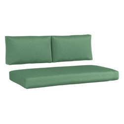 Newport Sunbrella® Bottle Green Modular Loveseat Cushions - Bottle green cushions add a soft silhouette to our Newport lounge collection. Polyester-filled cushions are covered in fade-, water- and mildew-resistant Sunbrella® acrylic fabric.