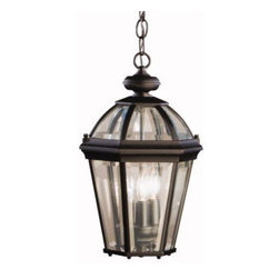 Kichler 3-Light Outdoor Fixture - Black Exterior - Three Light Outdoor Fixture. Utilizing classic design elements from colonial America, the Trenton collection offers timeless design for today's aesthetic. Our striking black finish helps recreate the look and feel of fixtures formed by blacksmiths hundreds of years ago. Skilled artisans re-create these handcrafted works of art from high quality cast aluminum with clear beveled glass panels to ensure the Trenton will last for years. This 3-light outdoor hanging lantern adds a dramatic touch to your home's veranda. It measures 16 high, uses 60-watt bulbs for everyday use, and is UL listed for damp locations.