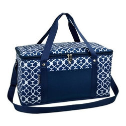 Picnic at Ascot - Large Cooler, Trellis Blue by Picnic at Ascot - Our Large Cooler in Trellis Blue by Picnic at Ascot is perfect for tailgating, parks and the beach. Constructed with a sewn in wire frame, hard base and inserts to add rigidity. Zippered lid, padded handle grip and shoulder strap makes it is easy for transport.