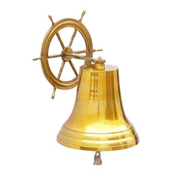 "Handcrafted Model Ships - Ship Wheel Brass Bell 18"" - Beach Home Decor - Elegantly designed and gleaming with a lustrous shine, this fabulous Brass Hanging Ship Wheel Bell 18"" is equally stunning indoors or out. In addition to being fully functional, this nautical bell is a great addition to any nautical theme room. Make a statement and enjoy this wonderfully decorative brass bell and distinct, warm ""strike through"" nautical tone with each and every resounding ring."