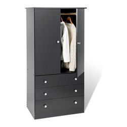 Prepac - Prepac Black Juvenile TV/Wardrobe Armoire - Prepac - Armoires - BEP3060K - No matter what your decor this practical and functional TV/Wardrobe Armoire with clean lines and chrome finished plastic knobs will blend perfectly. It features a fresh black laminate finish and plenty of storage space.