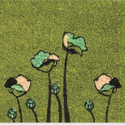 Green Flowers Doormat - The flowers and colors on this doormat remind me of a Van Gogh painting. It's delicate and colorful yet practical and useful.
