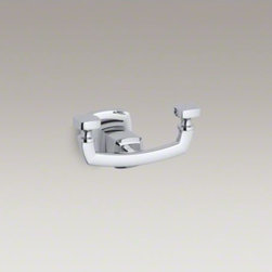 KOHLER - KOHLER Margaux(R) double robe hook - Margaux combines traditional, elegant lines with contemporary touches. This robe hook makes a sleek finishing accent for your bathroom while reflecting the classic style of Margaux faucets and accessories.