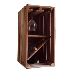 Wine Caddy, Oak, Glasses Rack - Crate style storage for wine bottles and the glasses.  One crate size 12x24, is set up for just bottle storage or hang glasses in along with a couple of bottles.