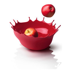 MENU - Dropp!, Deep Red - Fantastic fruit bowl! Like a large, soft drop of paint, frozen at the precise moment it hits the table and breaks into a spectacular, colorful spray. Comes in a gift bag.