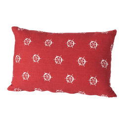 Cricket Radio - Montauk Wheels Small Pillow, Red/White - Style's ahoy when you add this jaunty pillow to your sofa, chair or bench. It's hand-printed using ecofriendly inks on Italian linen, comes in your choice of colors and features a removable down insert for easy cleaning. Steer your decorating in a nautical direction.