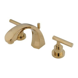 "Kingston Brass - Two Handle 8"" to 16"" Widespread Lavatory Faucet with Brass Pop-up KS4982CML - Two Handle Deck Mount, 3 Hole Sink Application, 8"" to 16"" Widespread, Fabricated from solid brass material for durability and reliability, Premium color finish resist tarnishing and corrosion, 1/4 turn On/Off water control mechanism, 1/2"" IPS male threaded shank inlets, Ceramic disc cartridge, 2.2 GPM (8.3 LPM) Max at 60 PSI, Integrated removable aerator, 5"" spout reach from faucet body, 5-1/2"" overall height.. Manufacturer: Kingston Brass. Model: KS4982CML. UPC: 663370037917. Product Name: Kingston Brass Manhattan Two Handle 8"" to 16"" Widespread Lavatory Faucet with Brass Pop-up. Collection / Series: Manhattan. Finish: Polished Brass. Theme: Contemporary / Modern. Material: Brass. Type: Faucet. Features: Drip-free ceramic cartridge system"