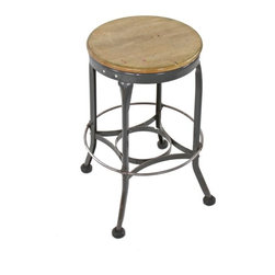 """Industrial Stools - original c. 1940's american industrial four-legged gunship gray enameled folded and pressed steel """"toledo"""" stool with intact heel ring - toledo metal furniture co., toledo, oh"""