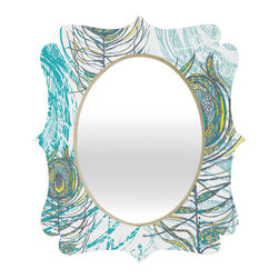 DENY Designs - Rachael Taylor Peacock Feathers Quatrefoil Mirror - Mirror, mirror on the wall. Who's the fairest one of all? We'll that's easy, the quatrefoil mirror collection, of course! With a sleek mix of baltic birch ply trim that's unique to each piece and a glossy aluminum frame, the rectangular mirror makes you feel oh so pretty every time you catch a glimpse. Custom made in the USA for every order.