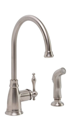 Premier Faucet - Premier Wellington Teapot Style Kitchen Faucet with Side Spray - Brushed Nickel - Beautify your kitchen with Wellington's single-handle, high-arc faucet. Both functional and fashionable, this Wellington kitchen faucet delivers the impressive height necessary to fill modern cookware. The Premier Wellington faucet features a high-arc swivel spout that rotates 360 degrees, a trouble-free ceramic disc cartridge for reliable performance, lead-free brass construction and a matching sprayer with a generous 48-inch reinforced hose. This faucet is suitable for two-hole (with sprayer) kitchen sink installations. For three-hole sinks, add a matching soap dispenser to complement your Wellington faucet (sold separately). The Wellington kitchen faucet provides a powerful flow rate of 2.2 gpm at 60 PSI. This faucet complies with the requirements of the Uniform Plumbing Code and the Americans with Disabilities Act. This faucet is featured in a beautiful brushed nickel finish.