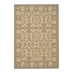 Safavieh - Transitional Synthetic Rug (5 ft. x 2 ft. 7 in.) - Size: 5 ft. x 2 ft. 7 in. Machine made weave. Power loomed construction. Made from polypropylene. Coffee and sand color. Made in Belgium. Safavieh takes classic beauty outside of the home with the launch of their Collection. These rugs are suitable for anywhere inside or outside of the house. To achieve more intricate and elaborate details in the designs, Safavieh used a specially-developed sisal weave. Care Instructions: Vacuum regularly. Brushless attachment is recommended. Avoid direct and continuous exposure to sunlight. Do not pull loose ends; clip them with scissors to remove. Remove spills immediately; blot with clean cloth by pressing firmly around the spill to absorb as much as possible. For hard-to-remove stains professional rug cleaning is recommended.