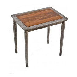 Simmon's Vintage Metal Furniture - Repurposed c. 1930's American industrial four-legged Simmons vanity bench side table or nightstand with newly added walnut inlay.