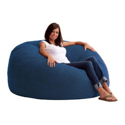 "Comfort Research - ""Comfort Research 5' King Fuf in Comfort Suede, Blue Sky"" - ""This is the chair that brought bean bags out of the 1970s and into the bedrooms and dorm rooms all over the world. The first one to use patented memory foam, the Fuf is one-of-a-kind. Spend five minutes on a Fuf and your body will thank you for it.Dimensions (W x L x H): 54"""" x 54"""" x 42""""Filled with super soft and long lasting fuf foam re-fuf again and again for custom comfortCovered in soft, durable fabricGreat for basements, bedrooms, dorm rooms, or even the family roomPlace it on its side for more of a lounge position or upright for more back supportAvailable in assorted sizes and colors"""