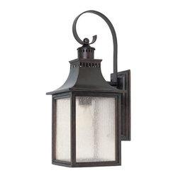 Joshua Marshal - One Light English Bronze Pale Cream Seeded Glass Wall Lantern - One Light English Bronze Pale Cream Seeded Glass Wall Lantern