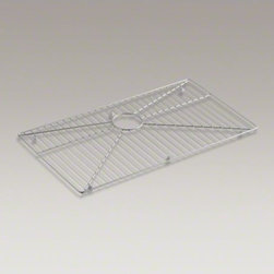 """KOHLER - KOHLER Stainless steel sink rack, 29-1/4"""" x 15-15/16"""" for K-3821 Vault(TM) and K - Ensure the long-lasting beauty of your Vault or Strive kitchen sink with this bottom basin rack. Designed to fit the bottom of the large single basin, this rack helps safeguard fragile dishes and protects the sink's stainless-steel surface."""