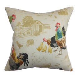 """The Pillow Collection - Adara Animal Print Pillow Natural 18"""" x 18"""" - This accent pillow takes inspiration from nature with its unique animal print. This square pillow features a one-of-kind animal print with rooster, hen and chicks. This multicolored throw pillow is a perfect statement piece for your family room, lounge area or living room. The playful print comes in a variety of hues, including red, yellow, green, blue, black and white. This 18"""" pillow is made of 100% cotton fabric. Hidden zipper closure for easy cover removal.  Knife edge finish on all four sides.  Reversible pillow with the same fabric on the back side.  Spot cleaning suggested."""