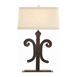 """Arteriors - Arteriors Home - Blackburn Table Lamp - DR12011-536 - Arteriors Home - Blackburn Table Lamp - DR12011-536 Features: Blackburn Collection Table LampIron FinishIron Material lamp bodyLinen shade and Cotton lining Shade materialOn / Off dial Switch type. At socket Switch locationA - E26 and on / off Socket typeHand crafted. UL and CUL listed. 7"""" Harp size. Accommodates 100W max A19 Incandescent bulbs not included. Wired for 110V - 120V Some Assembly Required. Dimensions: Overall : 12'' - 18.5'' W X 29'' HShade: 11"""" - 17"""" W X 12"""" - 18"""" D X 9.5"""" H"""