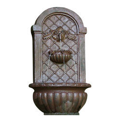 Venetian Outdoor Solar Wall Fountain, Iron