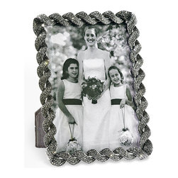 """Frontgate - Gray Dalton Crystal Frame - Christmas Decorations - Makes a gorgeous accent on a mantel, coffee table, end table or dining room table. Makes a fantastic holiday gift piece. Constructed of cast pewter with an elegant black silk moire back. Perfect for displaying year-round. Clean with a soft, dry cloth. Gray pave Swarovski crystals, hand-set by the hundreds, give a gorgeous gleam to our unique Pewter Dalton 5"""" x 7"""" Crystal Frame. cast-pewtertwist-pattern frame. Designed by Olivia Riegel for Frontgate, this richly embellished twist-pattern frame will accentuate a treasured photo. . .  .  .  .  .  . Imported."""