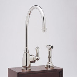 Rohl Perrin Rowe Lever Hole Kitchen Mixer Single Handle Faucet - If you're looking for a vintage style faucet for your kitchen, but want the function and convenience of a single lever faucet - this is the one for you! Comes in multiple finishes.