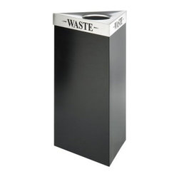 Safco Trifecta 19 Gallon Waste Receptacle Black Recycling Bin - Additional Features4 lids to choose fromWeighs 33 lbs.Measures 19.5L x 19.5W x 34H inchesThis large and stylish recycling bin promotes recycling in the workplace and makes it easy for your employees to separate their recyclables from their trash. The Safco Trifecta Waste Receptacle Black Recycling Bin holds up to 19 gallons and is uniquely designed to fit any workplace setting. The lid options are made from stainless steel and feature laser cut inscriptions to designate whether the bin is for cans glass paper plastic or bottles. Each lid holds the bags firmly in place so you don't have to worry about slippage. The bin weighs 33 lbs. and measures 19.5L x 19.5W x 34H inches.