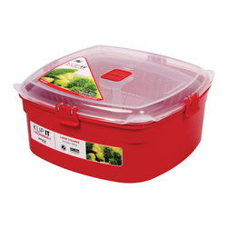 Sistema Klip It Large Microwave Steamer - Serve your family an extra helping of health by steaming your vegetables  fish and poultry in the microwave. It couldn��t be easier or quicker. Simply add water to the base container  place your food in the steaming colander  clip on the lid with the steam vent left open and zap in the microwave!Product Features                      Capacity - 3.2 Litre  109 oz  13.5 cups          Microwave safe with top vent open          Dishwasher safe - top rack          Freezer safe          Stackable