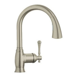 """Grohe - Grohe 1 Kitchen Faucet w/ Pullout Spray & - Locking Spray - Grohe 33 870 1 Kitchen Faucet Features:Grohe's limited lifetime faucet and finish warrantyAll-brass faucet body constructionNon-metallic pulldown spray head enhances faucet's versatilitySpring vs counterweight to help retract metal hose with little effortLocking spray control - switch between stream and spray without turning the water offSpout swivels 360-degrees providing greater access to more areas of the sinkHigh-arch gooseneck spout design provides optimal room under the faucet for any size taskGrohe SpeedClean anti-lime systemGrohe StarLight Chrome finishGrohe SilkMove ceramic disc cartridgeGrohe 33 870 1 Kitchen Faucet Specifications:Overall Height: 14-1/8"""" (measured from counter top to highest point on faucet)Spout Height: 7-2/3"""" (measured from counter top to spout outlet)Spout Reach: 8-1/5"""" (measured from center of faucet base to center of spout outlet)Number of Holes Required For Installation: 1Flow Rate: 1.75 GPM (gallons-per-minute)Maximum Deck Thickness: 2-3/8""""Stainless Steel Braided Flexible SuppliesDesigned for use with standard U.S. plumbing connectionsAll hardware needed for mounting is included with faucetWhy Buy Grohe 33 870 1 Kitchen Faucet From Us:We are a Grohe Preferred Authorized Online DealerWe Have Customer Care Experts Available 7 Days a Week to Serve YouWe Give a Showroom Experience from the Comfort of Your HomeProduct Technologies / Benefits:Starlight Finish: Continuously improving over the last 70 years Grohe�s unique plating process has been refined to produce and immaculate shiny surface that is recognized as one of the best surface finishes the world over. Grohe plates sub layers of copper and/or nickel to ensure that a completely non-porous, immaculate surface awaits the chrome layer. This deep, even layered chrome surface creates a luminous and mirror like sheen. Grohe finishes are life tested to withstand 60,000 �wipes� with an abrasive cloth.SilkMove Cartridge: T"""