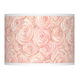 """Giclee Glow - Country - Cottage Pink Roses Giclee Lamp Shade 13.5x13.5x10 (Spider) - Printed giclee style shade. Pink Roses pattern. Custom-made. Spider fitting. Drum shape. 13 1/2"""" across the top. 13 1/2"""" across the bottom. 10"""" high.   Printed giclee style shade.  Pink Roses pattern.  Custom-made.  Spider fitting.  Drum shape.  13 1/2"""" across the top.  13 1/2"""" across the bottom.  10"""" high."""
