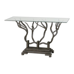 Uttermost - Uttermost Esher Bronze Console Table 24402 - Hand forged bronze metal shaped in a delicate twig design beneath clear, tempered glass.