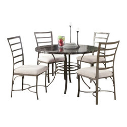 "Acme - 5 PC Daisy Collection Round Black Faux Marble Top and Metal Frame Table Set - 5-Piece Daisy collection round black faux marble top and metal frame table set and fabric upholstered chairs. This set features round table with a black faux marble finish with metal frame, 4 - side chairs with a fabric upholstery. Table measures 45"" Dia. Chairs measure 39"" H at the back. Some assembly required."
