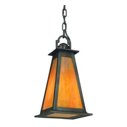"Troy Lighting - Lucerne Outdoor Pendant by Troy Lighting - A lovely craftsman-style outdoor pendant, ideal for relaxed lighting of porches, patios and outdoor dining areas. The Troy Lighting Lucerne Outdoor Pendant includes rugged hand-forged iron construction and iridescent honey-colored glass.Troy Lighting, headquartered in California, designs and manufactures indoor and outdoor lighting fixtures, utilizing hand-forged iron and hand-applied finishes to create quality products with high-style appeal.The Troy Lighting Lucerne Outdoor Pendant is available with the following:Details:Iridescent Honey glass shadeHand-forged iron constructionStatuary Bronze finishCeiling canopy48"" of chainUL Listed for damp locations. Install indoors or in protected, fully covered outdoor locations. Using UL Listings to help select the right product for your space.Options:Size: Large, or Small (shown).Lighting: One 100 Watt 120 Volt Medium Base Incandescent lamp (not included).Shipping:This item ships within 1 -2 weeks."