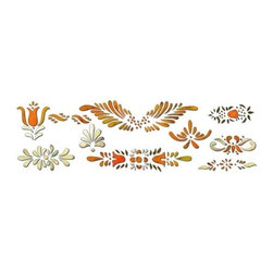 "Stencil Ease - Antique Accents Home Decor Stencil - Antique Accents Home Decor Stencil Antique Bronzing Stencil One 9"" x 12"" Stencil sheet containing 10 designs Actual Size: 2 3/4"" x 1/2"" to 7 1/2"" x 2"" This design kit will include the following Spill Proof paint colors: MPS01100 Metallic SilverMSP01102 Metallic Gold Complete kit comes with stencils paints and 1 TT10068 double ended stencil brush."