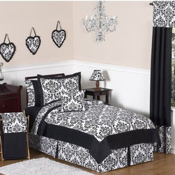 Sweet Jojo Designs - Isabella Black and White Collection 3pc Full/Queen Bedding Set - Isabella Full/Queen Bedding set will help you create an incredible room for your child. Features: -Set includes Full / Queen comforter and 2 standard shams. -Isabella collection. -Uses the stylish color pallete of rich black and crisp white. -Material: 100% Cotton fabrics. -Gorgeous damask print. -Coordinating accessories including sheets, wall dcor, window treatments and more. -Lightweight. -Fit Full and Queen size beds. -Machine washable and dryable.