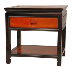 Oriental Unlimited - 2-Tone Rosewood Bedside Table - Classic Asian style heirloom quality joinery and cabinetry. Easy access top drawer and large open bottom shelf. Hand carved Shou symbol long life medallion drawer pull. Top quality kiln dried Chinese Rosewood nightstand. 2 Tone light and medium Cherry stain Rosewood. 22 in. W x 14 in. D x 22 in. H (28.5 lbs.)