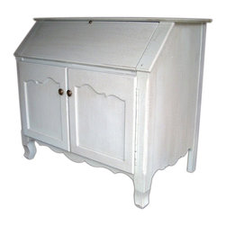 British Traditions - French Secretary Home Office Base with Flip-Down Desktop (French Grey) - Finish: French Grey. Each finish is hand painted and actual finish color may differ from those show for this product. French secretary. Flip-down desktop. French-wire top doors. Small cubbies and shelves inside desktop. File drawer behind left base door. Adjustable shelf behind base right door. Interior size: 40 in. W x 21.5 in. D x 30.25 in. H. Desktop size: 40 in. W x 29.75 in. D fully open. 7.5 in. H Including cubbies. 45.5 in. W x 25.25 in. D x 39.75 in. H (158 lbs.)Characterized by high-country elegance, this drop-front desk provides ample work space and small drawers and cubbies to keep oneself organized. There is also laptop storage space. The left side of the cupboard under the desk is a pull-out file drawer; to the right, a generous storage cupboard holds one adjustable shelf. Handsome carved legs and attractive reproduction hardware complete this virtually perfect picture!