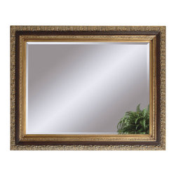 Bassett Mirror - Antique Gold Wall Mirror - Antique Gold and Mahogany Finish. Measures: 40 in. W x 50 in. H.