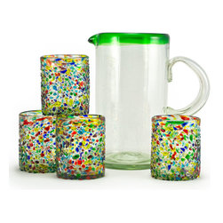 "Bambeco Jubilee Recycled Glass Refreshment Set - Perfect for entertaining Our colorful Jubilee Recycled Glass Refreshment Set will liven up any table with sparkling color and sustainable style. Engage in a rescue mission with these stunning pieces. Instead of going to a landfill, old soda bottles are rescued and transformed. Using techniques passed down from generation to generation, skilled artisans transform the broken pieces into beautiful new treasures. The set includes the Green Rim Recycled Glass Pitcher and four Confetti Recycled Glass Tumblers. The pitcher has an ever so slight green tint, a subtle reminder of its soda-bottle origins. The tumblers are decorated with a stunning array of colors. Each of these pieces is hand-blown and unique.   Set includes: Green Rim Recycled Glass Pitcher and four Confetti Recycled Glass Tumblers.   Pitcher holds approximately 70 ounces; tumblers hold approximately 12 ounces.   Dimensions: Pitcher—9.5""H x 4.75"" diam.; Tumbler—4""H x 3"" diam.   Care: Dishwasher safe.   Handcrafted in Mexico."