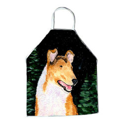 Caroline's Treasures - Starry Night Collie Smooth Apron - Apron, Bib Style, 27 in H x 31 in W; 100 percent  Ultra Spun Poly, White, braided nylon tie straps, sewn cloth neckband. These bib style aprons are not just for cooking - they are also great for cleaning, gardening, art projects, and other activities, too!